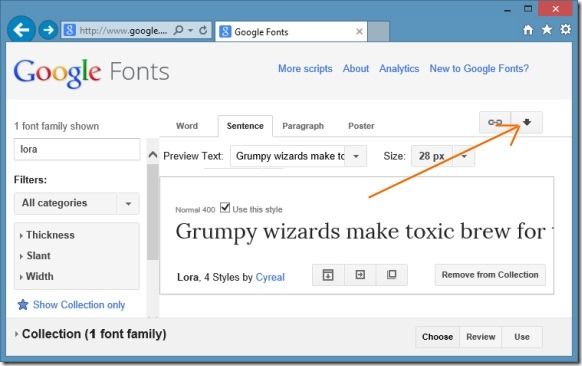 Install Google Web Fonts in Windows Picture2