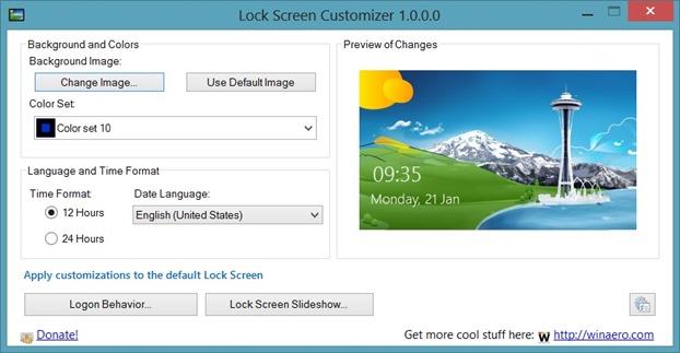 Lock Screen Customizer For Windows 8