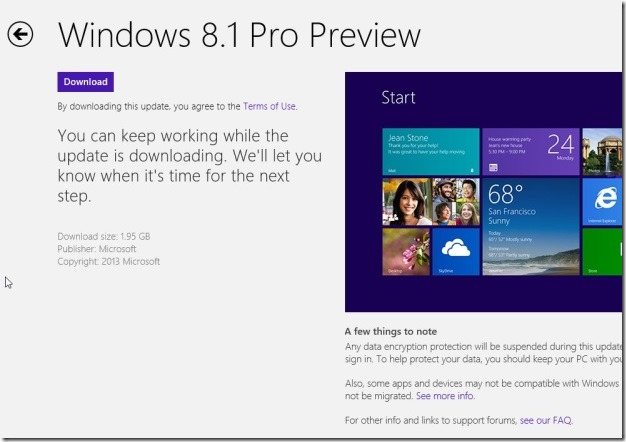 Upgrade Windows 8 to Windows 8.1 Preview Step10