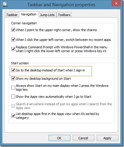 Boot directly to desktop in Windows 8