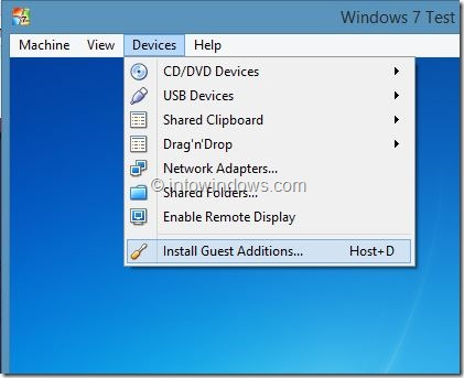 Enable Windows 7 Aero In VirtualBox Step1