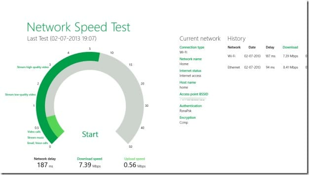 Network Speed Test For Windows 8 Picture2
