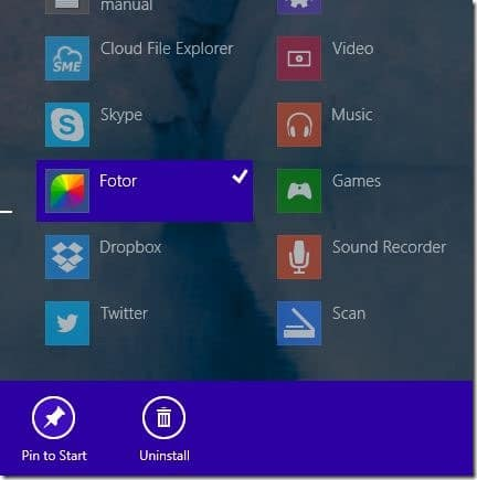Pin apps to start screen in Windows 8.1