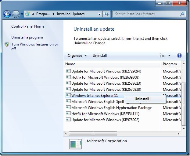 Uninstall Internet Explorer IE from Windows 7 step3