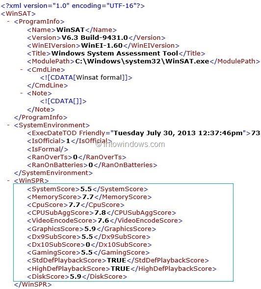 get Windows experience index in Windows 8.1