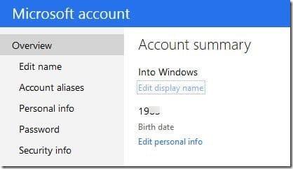 how to change microsoft account name on windows 8