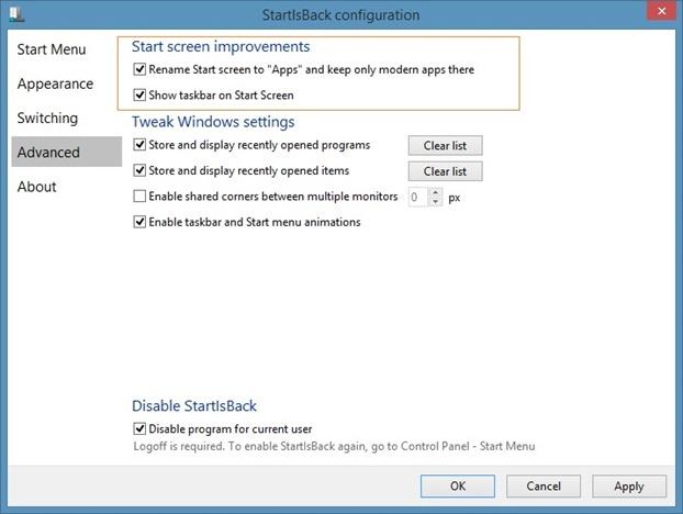 taskbar on Start screen and change Start button Picture6