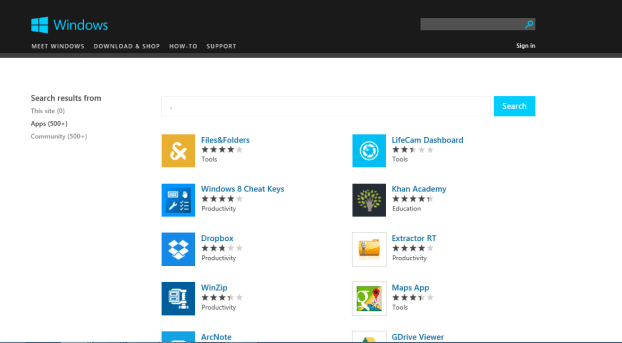 Browse Windows Store from web browser