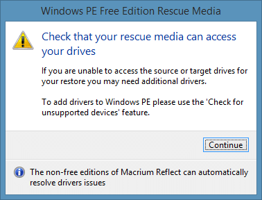 macrium reflect free edition windows pe