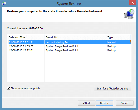 Create a restore point in Windows 8.1 Step 8a