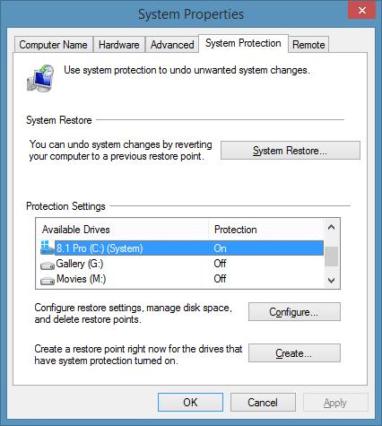Create a restore point in Windows 8.1 Step2