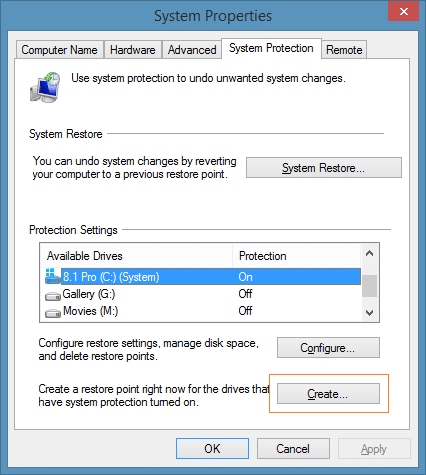 Create a restore point in Windows 8.1 Step3