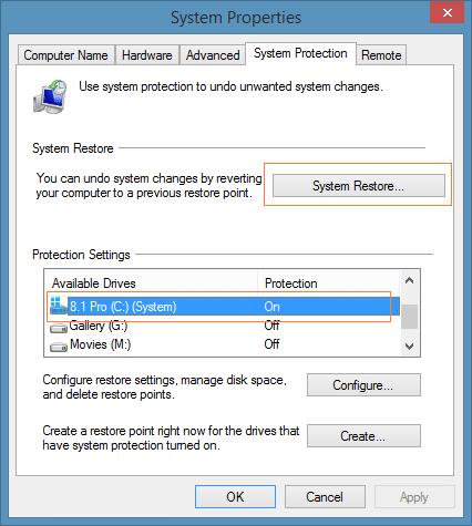 Create a restore point in Windows 8.1 Step6