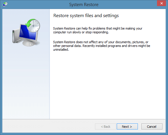 Create a restore point in Windows 8.1 Step7