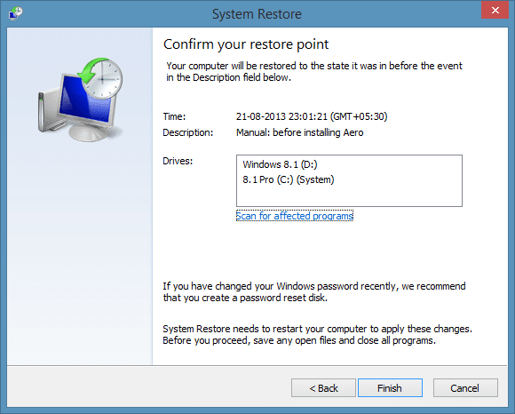 Create a restore point in Windows 8.1 Step9