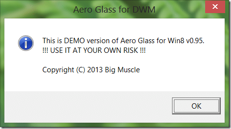 Disable or hide this is demo version of Aero Glass picture1