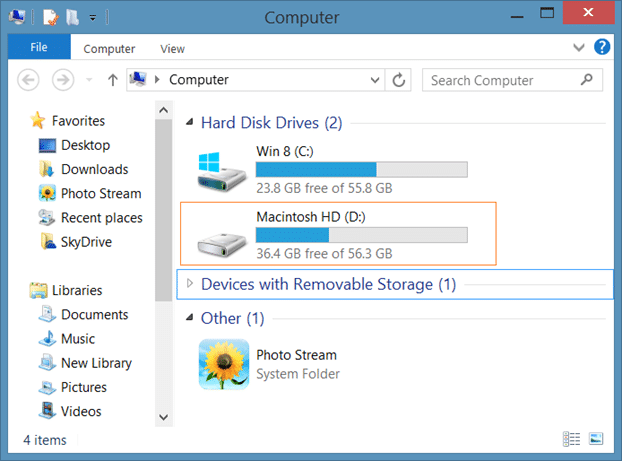 Hide Macintosh HD In Windows Explorer