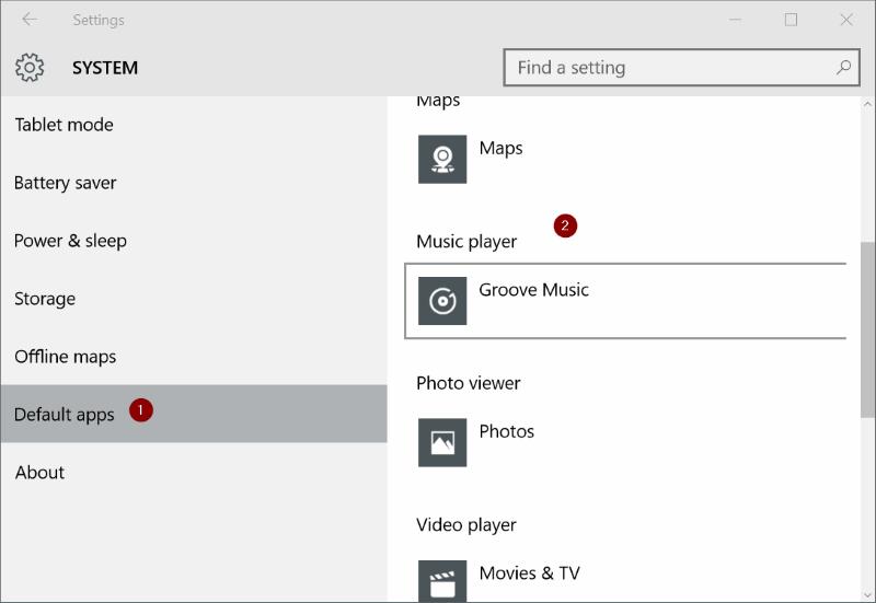Make Windows Media Player default On Windows 10 step3