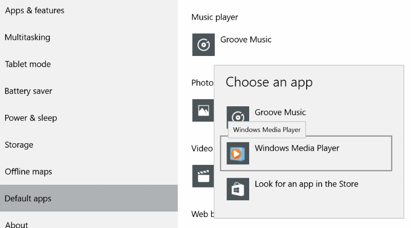 Make Windows Media Player default On Windows 10 step4