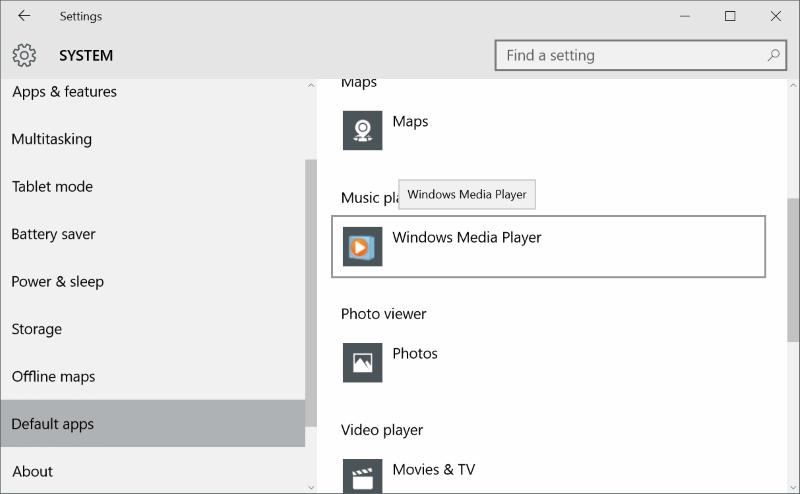 Make Windows Media Player default On Windows 10 step5