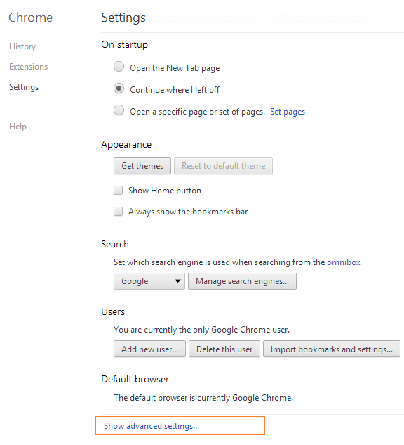 Reset Google Chrome Settings Step2