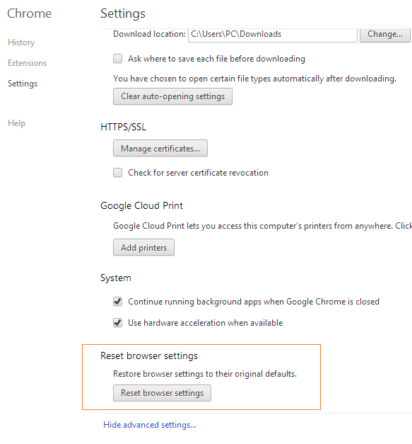 Reset Google Chrome Settings Step3