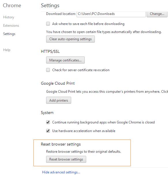 Reset Google Chrome Settings Step3