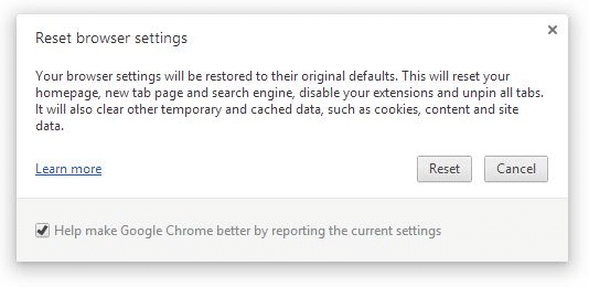 Reset Google Chrome Settings Step4