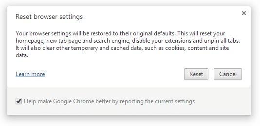 Reset Google Chrome Settings Step4