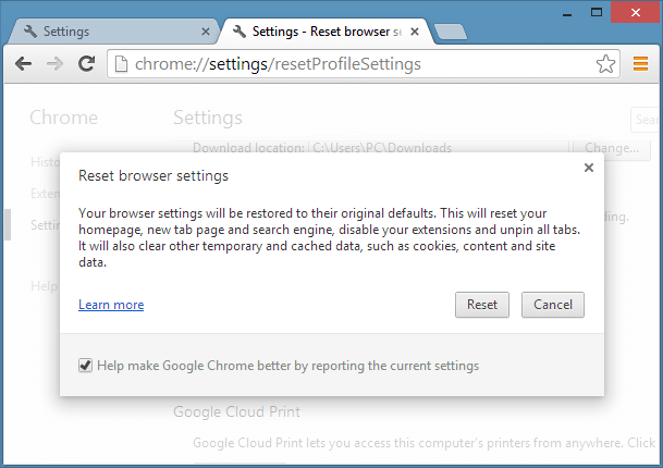 Reset Google Chrome Settings Step5
