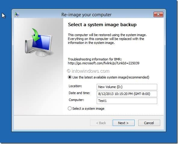 Restore Windows 8.1 Image Step3