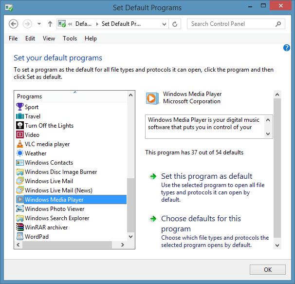 Set Windows Media Player as Default Audio Player in Windows 8.1 Step4