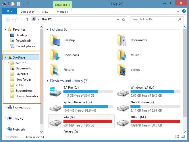 SkyDrive folder in Windows 8.1 navigation pane