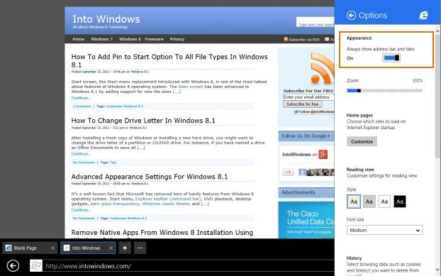 Always show address bar and tabs in Internet Explorer11 Step3