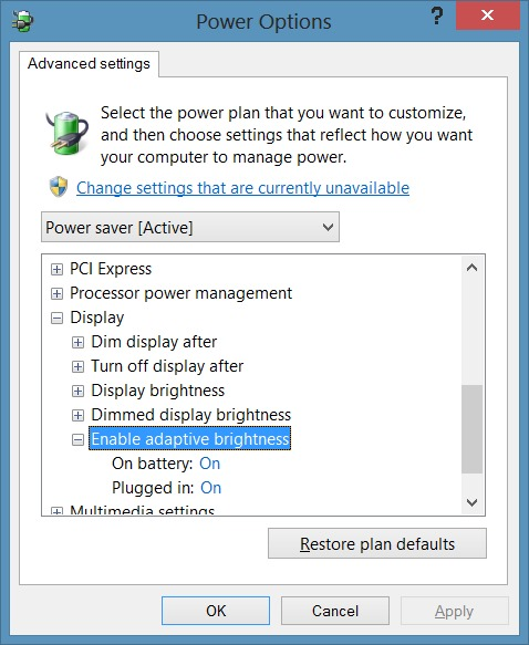 Disable Auto Brightness in Windows 8.1 Step4