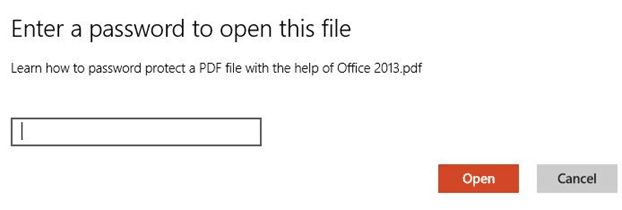 Password Protect PDF File Using Office 2013 Step7
