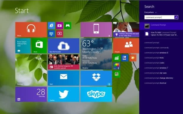 Run Command Prompt as administrator in Windows 8.`