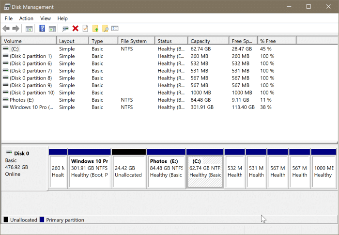 open disk management in Windows 10 pic7