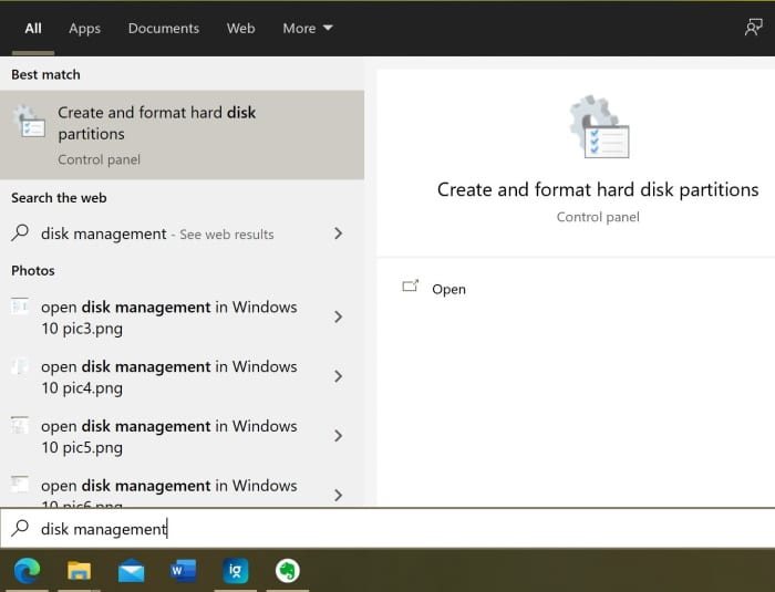 open disk management in Windows 10 pic8