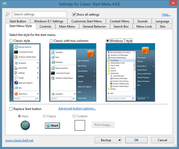 Classic Shell 4 for Windows 8.1