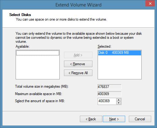 Extend drive partition Windows