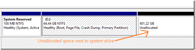 Extend partition drive