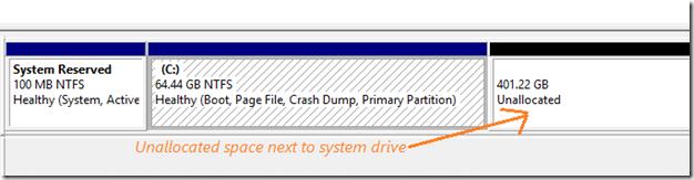 Extend partition drive