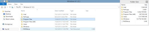 how to know folder size in windows