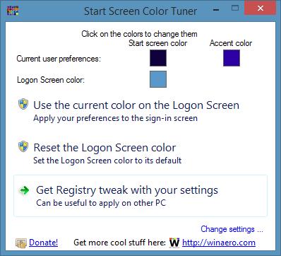 Logon Screen color changer for Windows 8.1