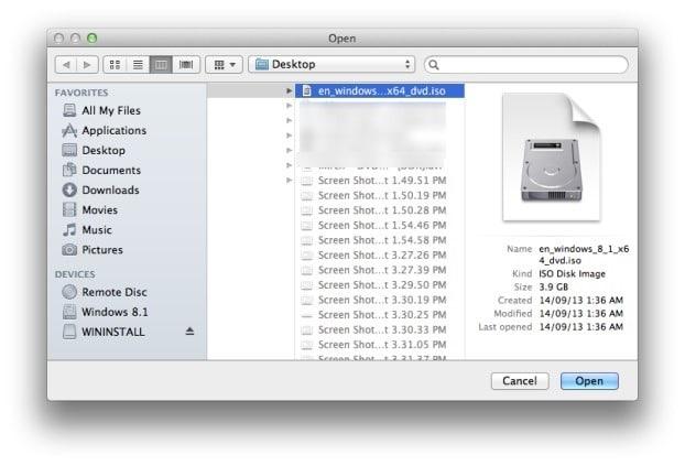 Create bootable Windows 8.1 USB on Mac Step4