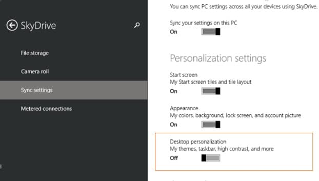 Disable or Stop wallpaper syncing in Windows 8.1 Step4