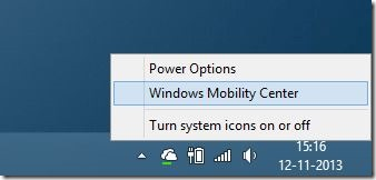 Open Windows Mobility Center in Windows 8.1 Method 1 Step1