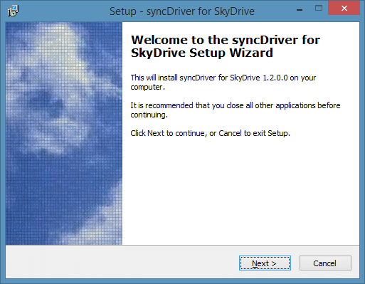 SyncDriver for SkyDrive Picture1