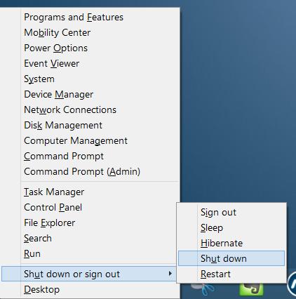 Full shutdown or cold boot in Windows 8.1